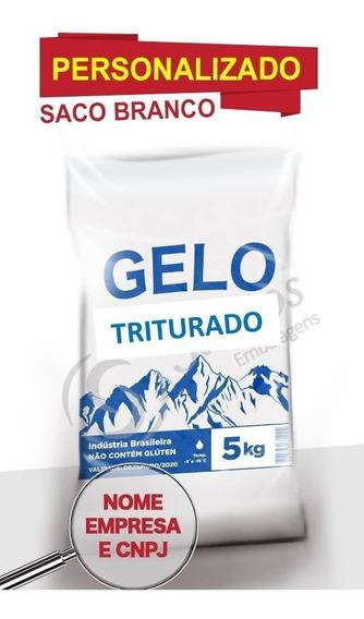 Saco P Gelo Branco 5kg Triturado C/código De Barra 14m C/500