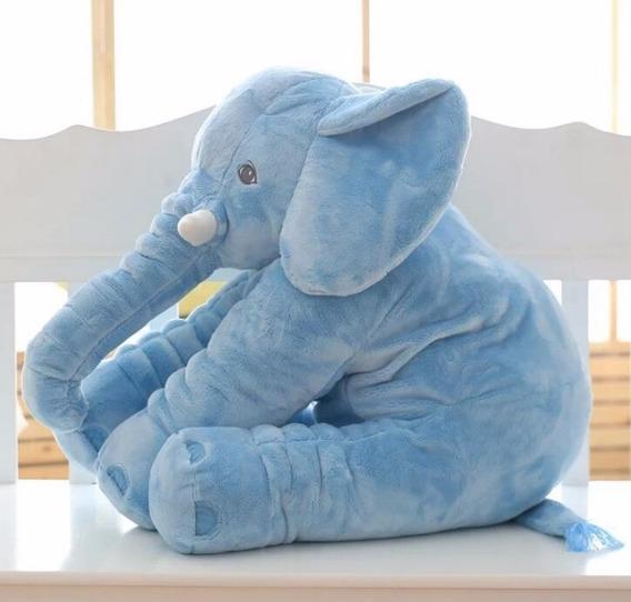 Elefante 45cm Azul Pelúcia Naninha Travesseiro Neném Bebê