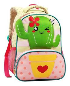 Mochila Infantil Estampa Cacto Infantil Escolar 13873 P Top