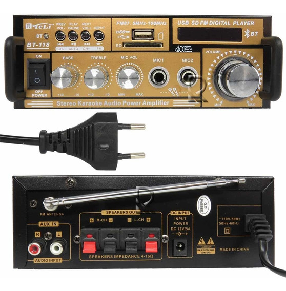 Mini Amplificador De Som Bluetooth Karaoke Mp3 Fm 2 Canais