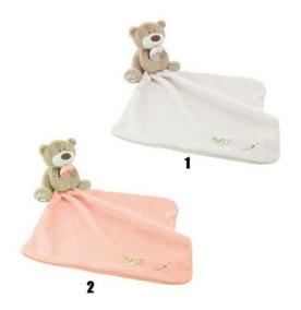 Naninha Bebê Infantil Ursinho Branca-rosa Paninho Cheirinho