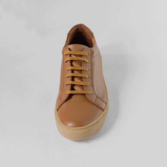 Tenis Zapatos Sneakers 100% Cuero Informal Café Marrón
