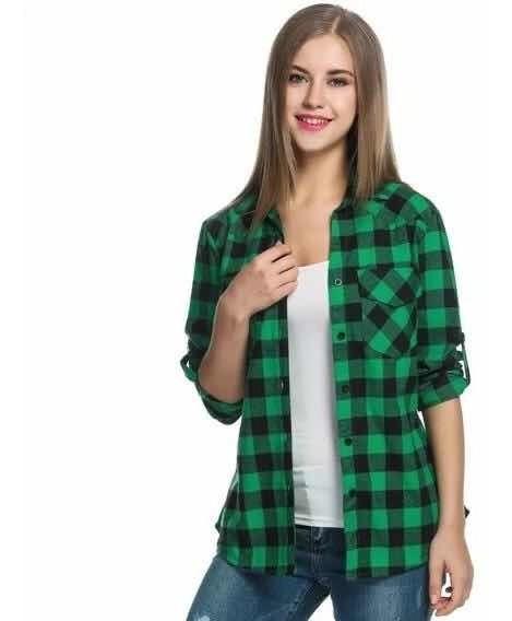 Camisa - Escocesa Cuadros - Blanco Y Negro - Dama - 2019