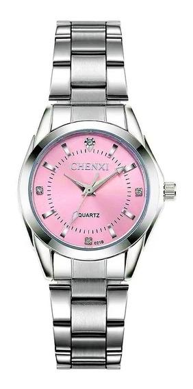 Relógio Feminino Strass Fundo Rosa Delicado