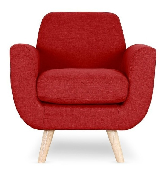 Sillon Prado Estilo Moderno Tela Color Rojo