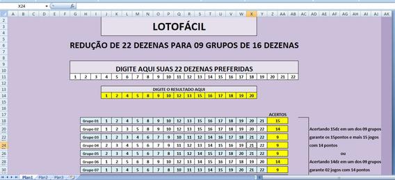 Redução Lotofácil De 22dz Para 09 Grupos De 16dezenas