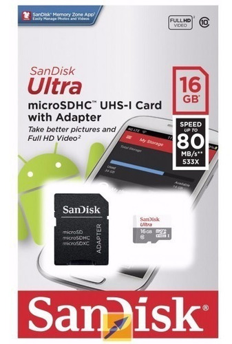 Imagem 1 de 1 de Cartão De Memória Microsd Ultra Classe 10 16gb 80mb/s