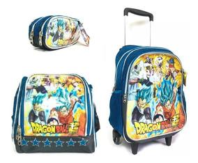 Kit Mochila Infantil Pequena Dragon Ball + Lancheira +estojo