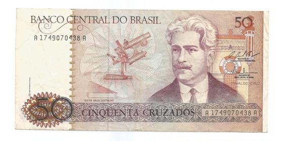 Brasil - C-183, 50 Cruzados, 1987, Série 1749, Mbc/sob Rara