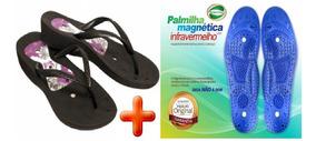 Sandália Chinelo Magnético Preta + Palmilha Magnética Infrav