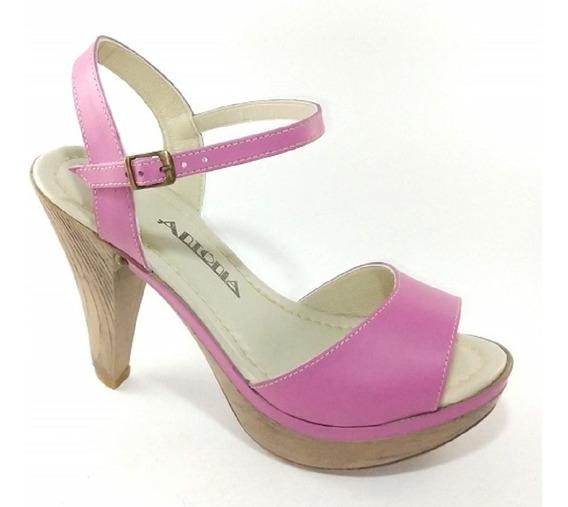 Sandália Em Couro Pink Salto Imita Madeira