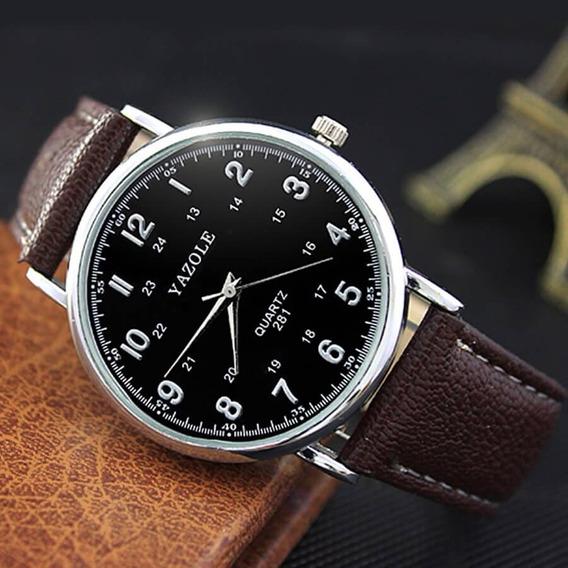 Relógio Unissex Yazole Luxo Pulseira De Couro Envio Imediato
