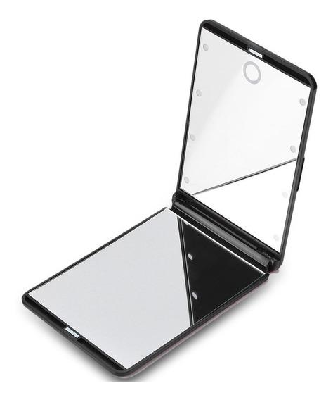 Preto - Moda 8 Leds Portátil Tocar Tela Iluminado Espelho Co