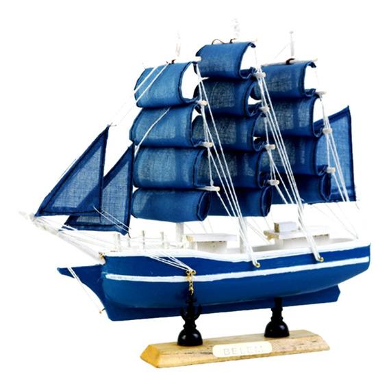 Modelo Náutico De Nave Barco De Vela De Madera Decoración