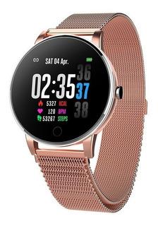 Smartwatch Y9 Pulseira Milanesa Dourada Rose Gold Android