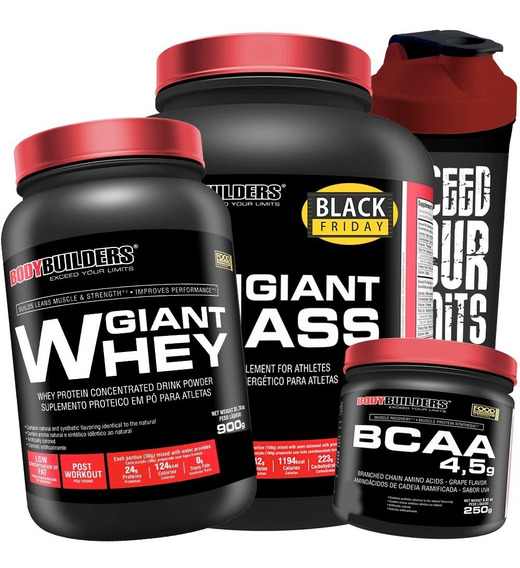 Kit Giant Mass 3kg + Giant Whey 900g + Bcaa 4.5 Powder + Coq