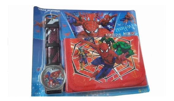 Relógio Infantil + Carteira Do Homem Aranha