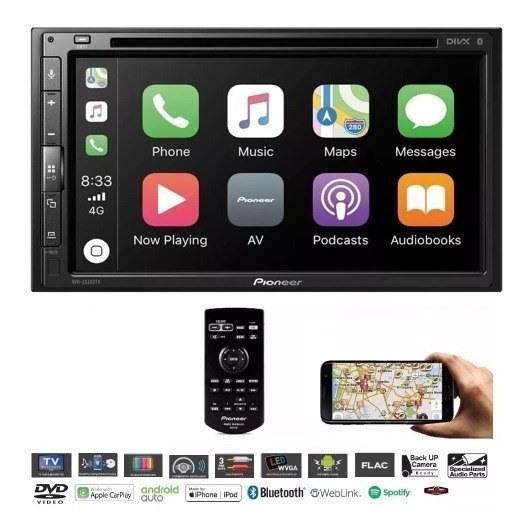Multimídia Pioneer Avh-z5280tv Usb Waze Youtube Carplay Tv.