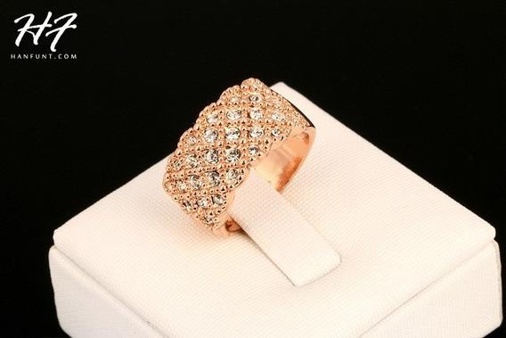 Anel Feminino Banhado Ouro 18k Dourado Pedras Cravejadas