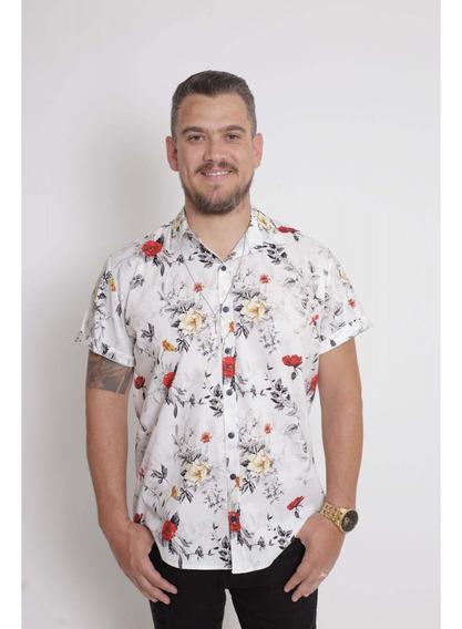 Camisa Social Manga Curta Branca Floral