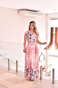 Vestido Longo Com Cinto Princesa Floral Moda Evangelica Ccb