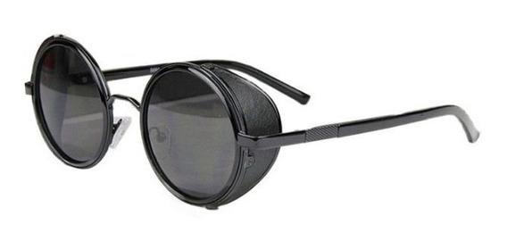Óculos Escuro Sol Redondo Proteção Lateral Uv400 Steampunk