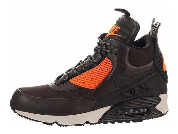 Botas Caminata Nike Air 90 Sneakerboot Cafe Con Anaranjado