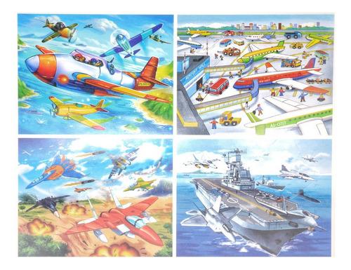 4 Puzzles Medios De Transportes En Caja De Madera