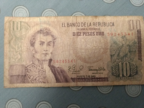 Imagen 1 de 1 de Billete 10 Pesos Oro