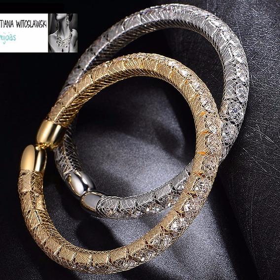 Pulseira Bracelete Feminino Ouro 18k Folheado Cristais C160