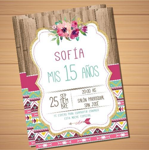 Tarjeta Invitacion 15 Años Imprimible Editable