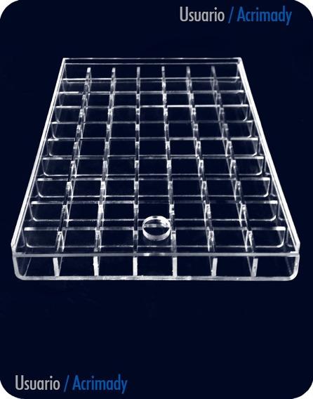 Exhibidor Caja Broquel En Acrílico De 3mm (70 Divisiones)