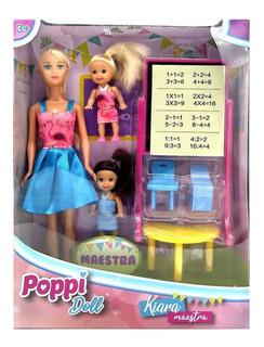 Muñeca Poppi Doll Kiara Maestra Para Nenas Con Accesorios