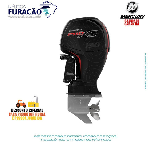 Motor De Popa Mercury 4 Tempos 150hp L 3.0l Efi Pro Xs
