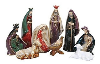 Belen Colorido Con 9 Figuras De Ceramica