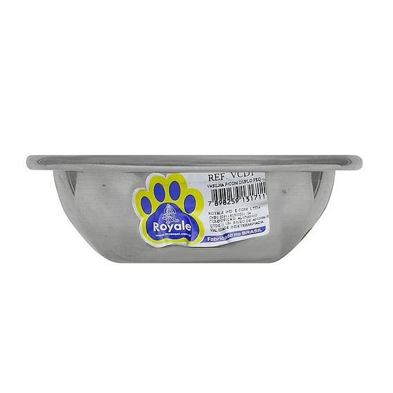 Vasilha Para Comedouro Royale Duplo Para Cães Alumínio - 450ml