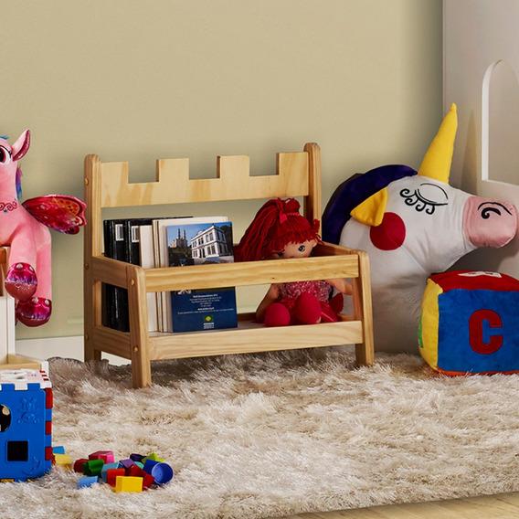 Porta Livros Infantil Montessori Castelo De Madeira/mdf Casa