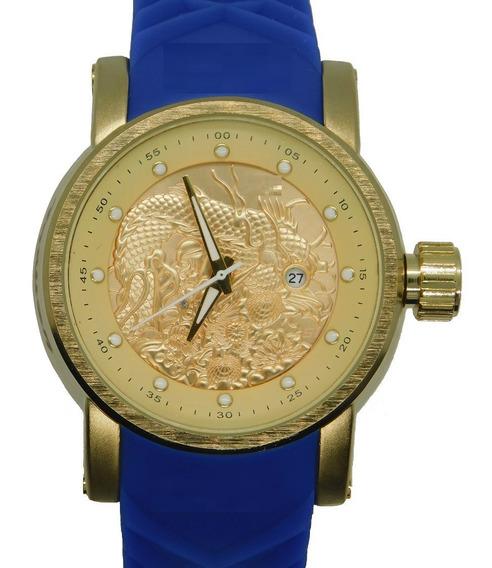 Relógio Masculino Dourado Azul Importado Ykza Frete Grátis