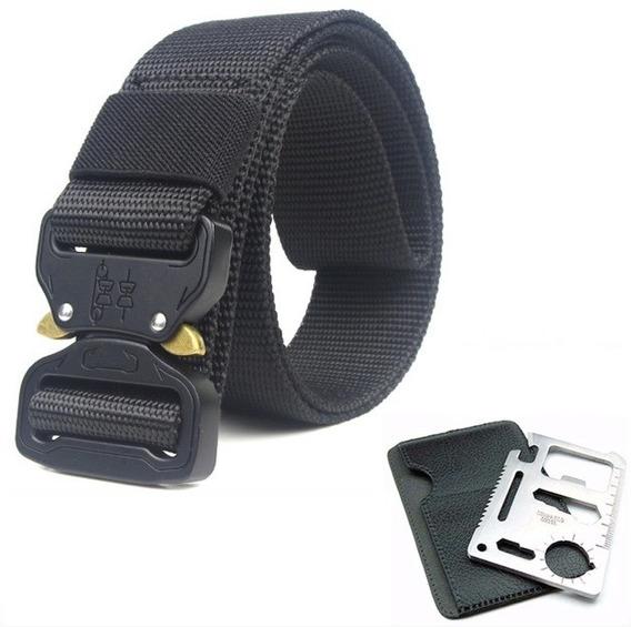 Cinturón Táctico Tipo Asalto Militar +tarjeta Multiusos 11x1