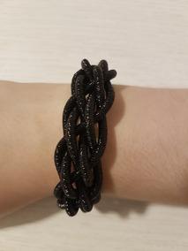 Bracelete Preto Brilho Trançado Com Feixo De Ima Festa Moda