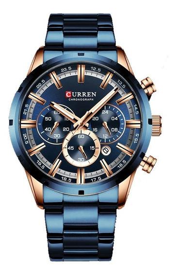 Reloj Curren Acero Inoxidable Azul Con Cronómetro Y Fechador
