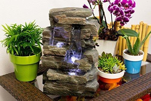 Fuente De Agua De Resina Y Fibra De Vidrio Con Luces Led