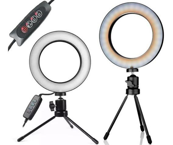 Iluminador Circular Ring Light - 3500k A 5500 Tripé Mesa Refletor Para Vídeos Youtube Selfie Maquiagem Youtuber