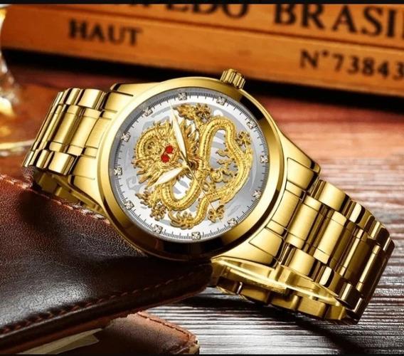 Relógios Dragon Quartz Luxo Original Inoxodavel