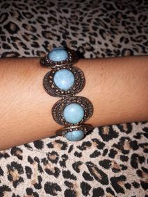 Bracelete / Pulseira Bijuteria De Elástico Ouro Velho E Azul