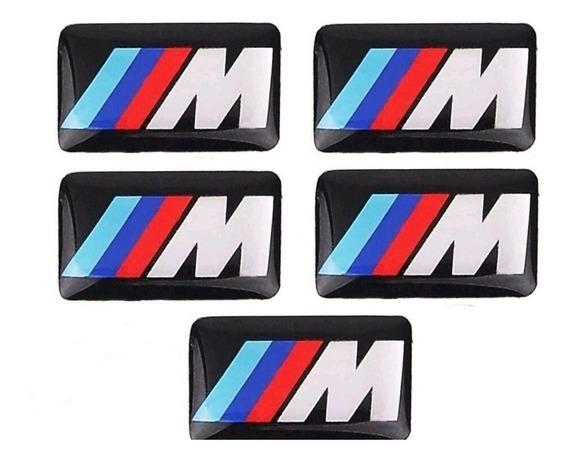 Kit 5 Adesivos Emblema Bmw M Motorsport Volante Câmbio Rodas