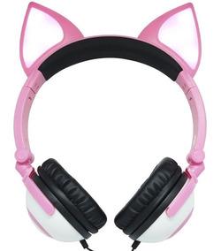 Fone Ouvido Headphone Com Fio Orelha Gatinho Led Infantil P2