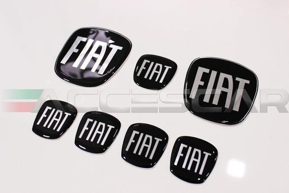 Kit 7 Adesivos Emblemas Fiat Preto Black Piano Linea 08/14