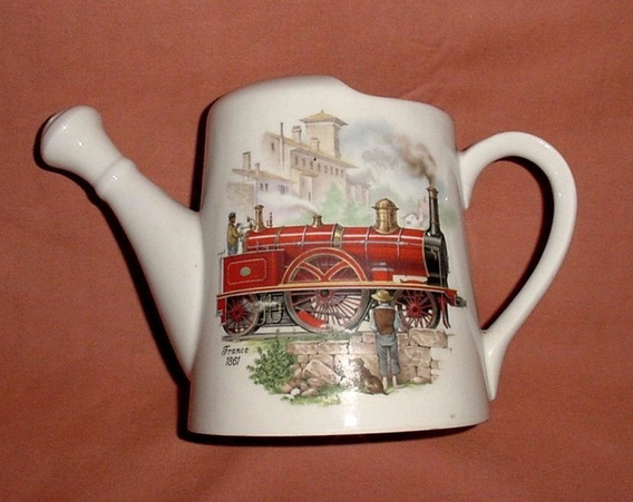 Regadera Porcelana Alamana Dresden Motivo Locomotora 1861