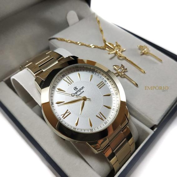 Relógio Champion + Brinde Colar E Brincos Modelo Ch24697j